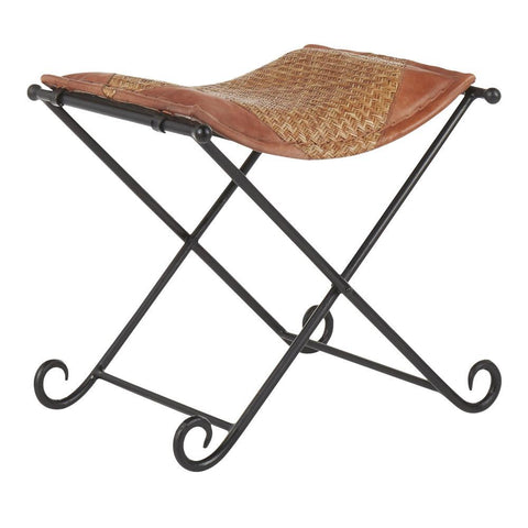 Lumisource Ali Industrial Leather Stool in Black Metal and Natural Rattan With Brown Leather Accent