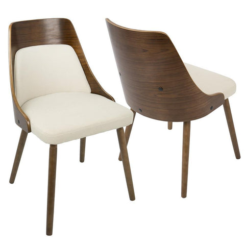 Lumisource Anabelle Mid-Century Modern Dining/Accent Chair in Walnut and Cream Fabric