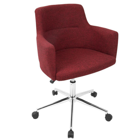 Lumisource Andrew Contemporary Adjustable Office Chair in Red