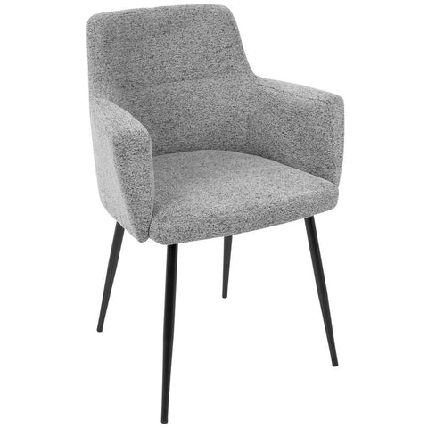 Lumisource Andrew Contemporary Dining/Accent Chair in Black with Grey Fabric - Set of 2