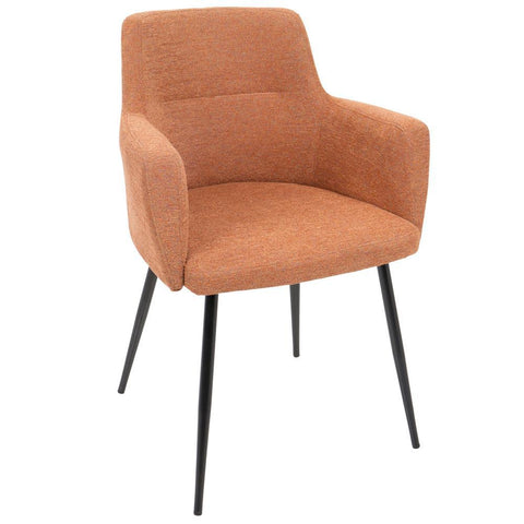 Lumisource Andrew Contemporary Dining/Accent Chair in Black with Orange Fabric - Set of 2