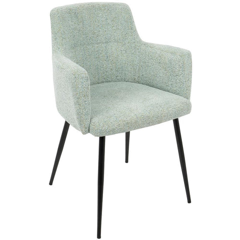 Lumisource Andrew Contemporary Dining/Accent Chair in Black with Seafoam Green Fabric - Set of 2