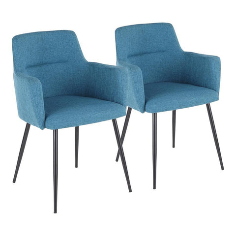 Lumisource Andrew Contemporary Dining/Accent Chair in Black with Teal Fabric - Set of 2