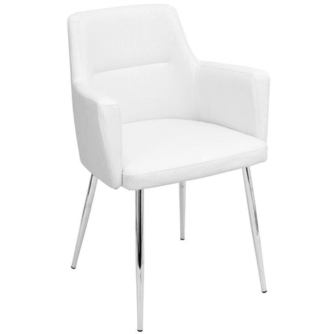 Lumisource Andrew Contemporary Dining/Accent Chair in Chrome and White Faux Leather - Set of 2