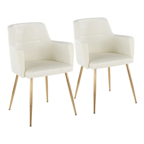 Lumisource Andrew Contemporary Dining/Accent Chair in Gold Metal and Cream Velvet - Set of 2