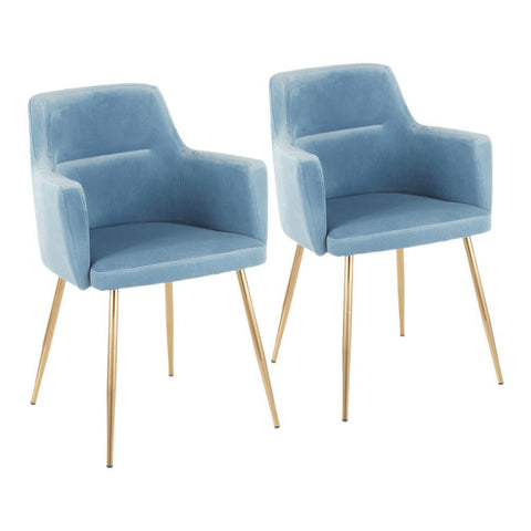 Lumisource Andrew Contemporary Dining/Accent Chair in Gold Metal and Light Blue Velvet - Set of 2