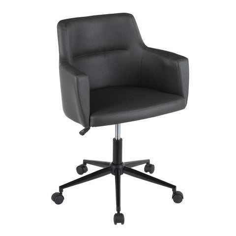 Lumisource Andrew Contemporary Office Chair in Grey Faux Leather