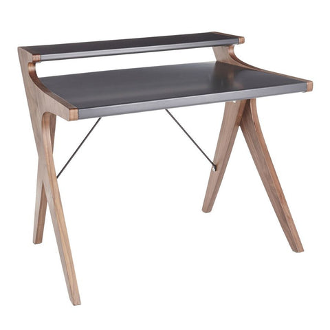 Lumisource Archer Contemporary Desk in Walnut Wood w/Grey Wood Top