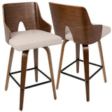 "Lumisource Ariana 26"" Mid-Century Modern Counter Stool in Walnut and Beige Fabric - Set of 2"
