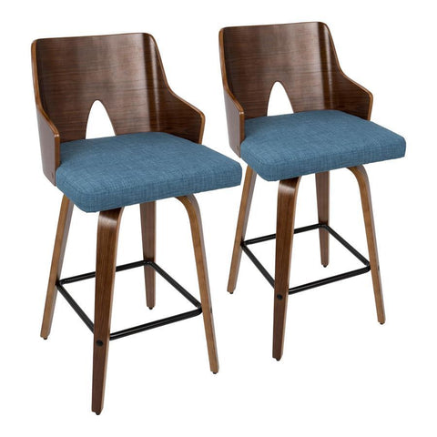 "Lumisource Ariana 26"" Mid-Century Modern Counter Stool in Walnut and Blue Fabric - Set of 2"