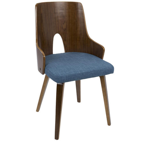 Lumisource Ariana Mid-Century Modern Dining/Accent Chair in Walnut and Blue Fabric - Set of 2