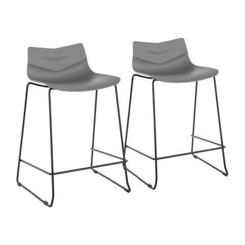 Lumisource Arrow Contemporary Counter Stool in Black and Grey - Set of 2
