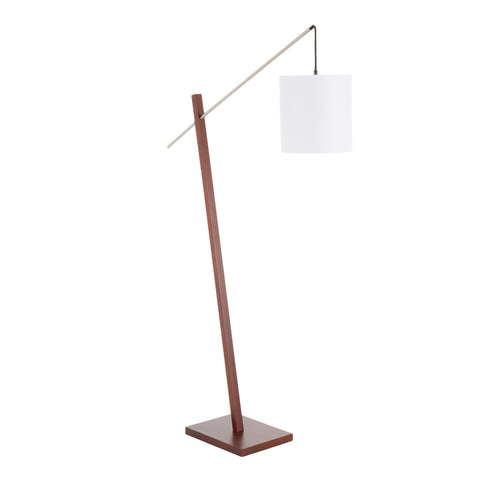 Lumisource Arturo Contemporary Floor Lamp in Walnut Wood and White Fabric Shade
