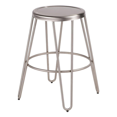 Lumisource Avery Industrial Metal Counter Stool in Brushed Stainless Steel - Set of 2