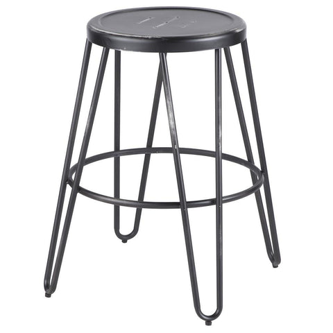 Lumisource Avery Industrial Metal Counter Stool in Vintage Black - Set of 2