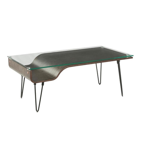 Lumisource Avery Mid-Century Modern Coffee Table in Dark Grey Wood, Clear Glass, and Black Metal