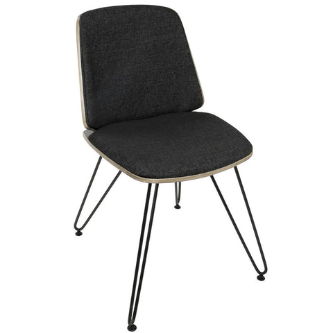 Lumisource Avery Mid-Century Modern Dining/Accent Chair in Dark Grey Wood and Black Fabric - Set of 2