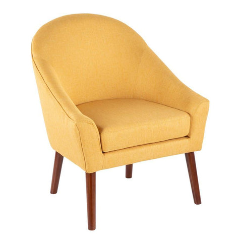 Lumisource Bacci Contemporary Accent Chair in Yellow Fabric