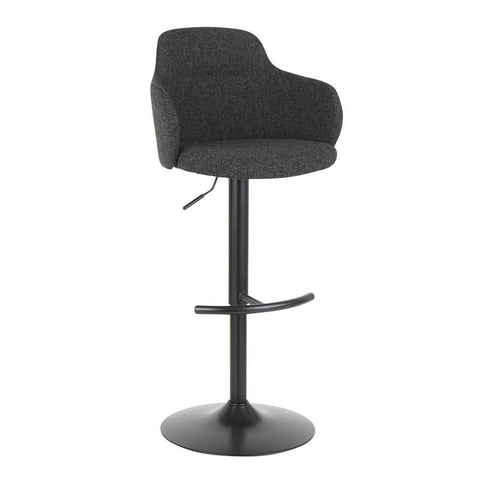 Lumisource Boyne Industrial Upholstered Bar Stool in Black Metal and Dark Grey Fabric