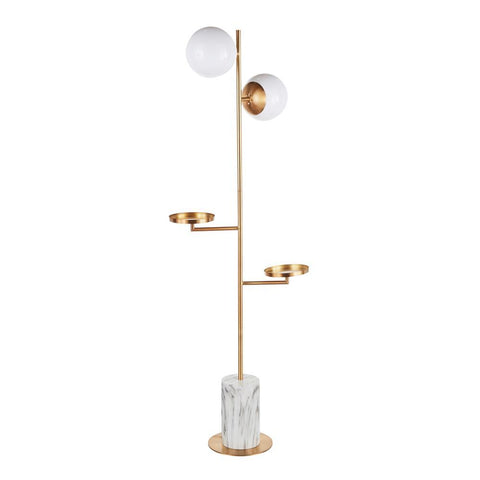 Lumisource Butler Contemporary/Glam Floor Lamp in Gold Metal with White Marble Base