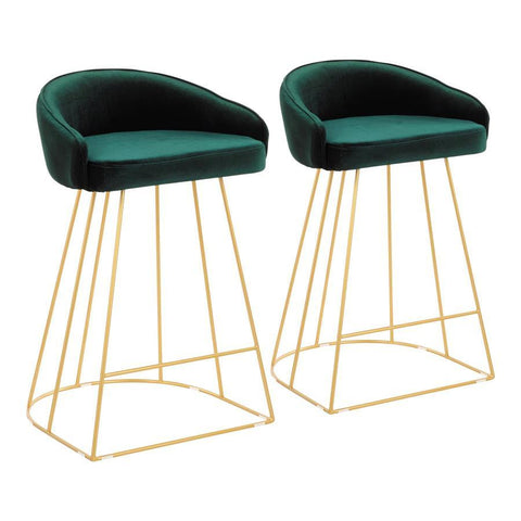 Lumisource Canary Contemporary Counter Stool in Gold with Green Velvet - Set of 2