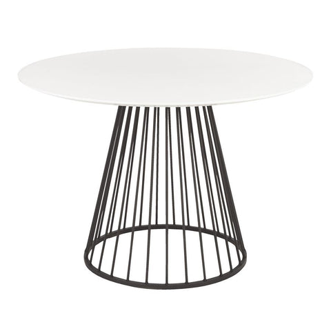 Lumisource Canary Contemporary Dining Table in Black Metal & White Wood Top