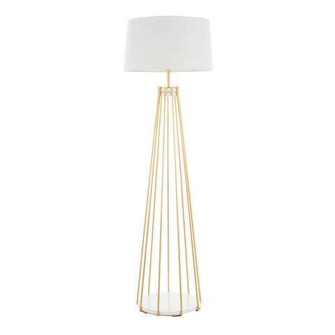 Lumisource Canary Contemporary Floor Lamp in Gold Metal and White Shade