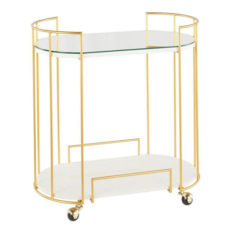 Lumisource Canary Contemporary/Glam Bar Cart in Gold Metal, White Marble and Mirror Top