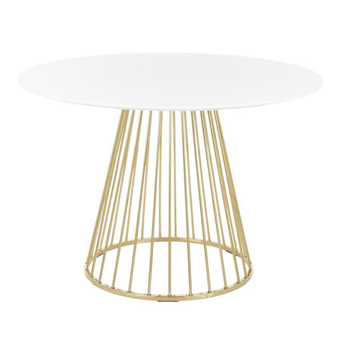 Lumisource Canary Contemporary/Glam Dining Table in Gold Metal and White Top