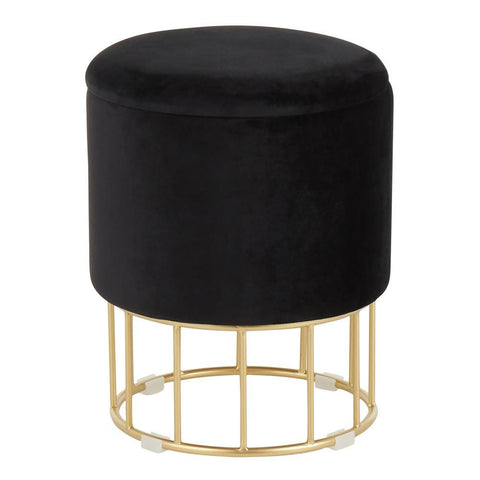 Lumisource Canary Contemporary/Glam Ottoman in Gold Metal and Black Velvet