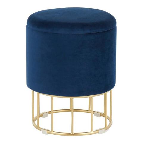 Lumisource Canary Contemporary/Glam Ottoman in Gold Metal and Blue Velvet