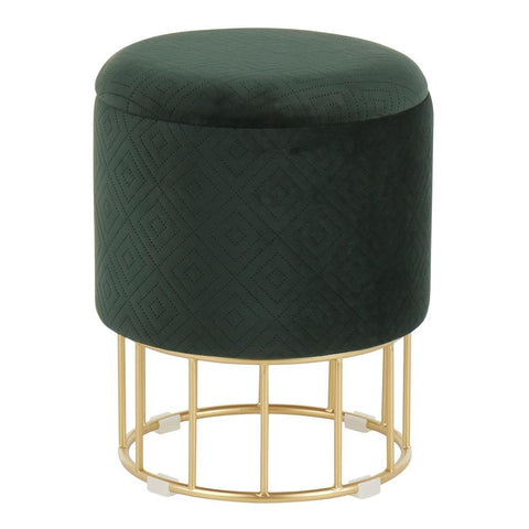 Lumisource Canary Contemporary/Glam Ottoman in Gold Metal and Green Velvet