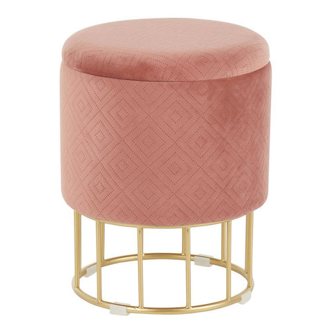 Lumisource Canary Contemporary/Glam Ottoman in Gold Metal and Pink Velvet
