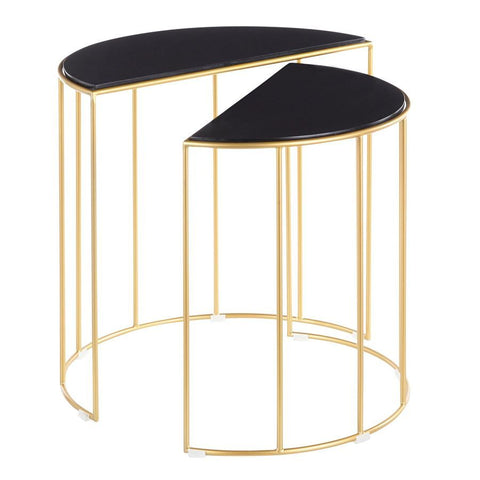 Lumisource Canary Contemporary Nesting Table in Gold w/Black Marble