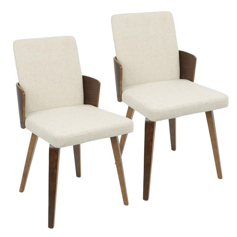 Lumisource Carmella Mid-Century Modern Dining/Accent Chair in Walnut and Cream Fabric - Set of 2