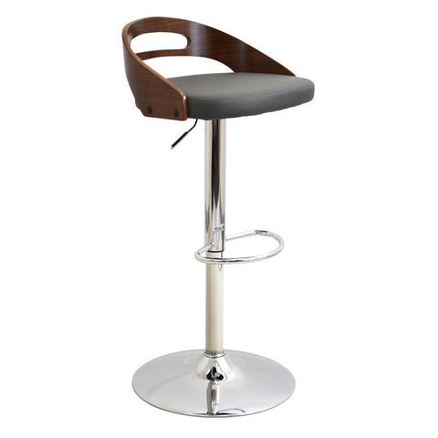 Lumisource Cassis Mid-Century Modern Adjustable Barstool with Swivel in Walnut and Grey Faux Leather