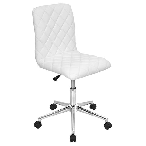 Lumisource Caviar Contemporary Adjustable Office Chair in White Faux Leather