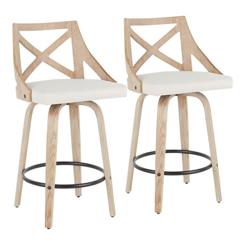 Lumisource Charlotte Farmhouse Counter Stool in White Washed Wood and Cream Fabric - Set of 2