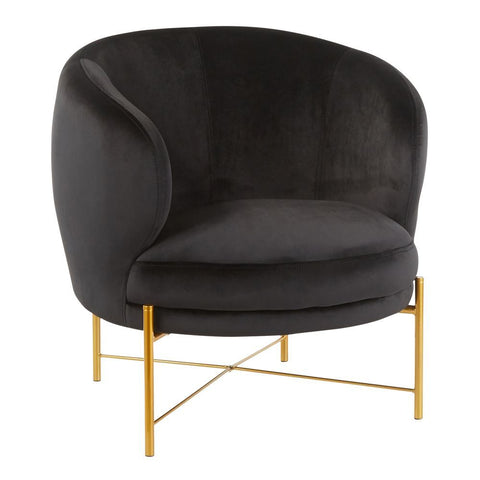 Lumisource Chloe Contemporary Accent Chair in Gold Metal and Black Velvet