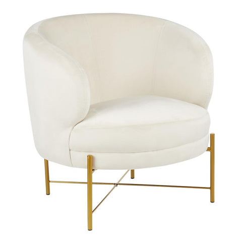 Lumisource Chloe Contemporary Accent Chair in Gold Metal and Cream Velvet