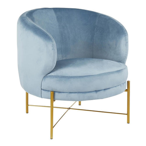 Lumisource Chloe Contemporary Accent Chair in Gold Metal and Powder Blue Velvet