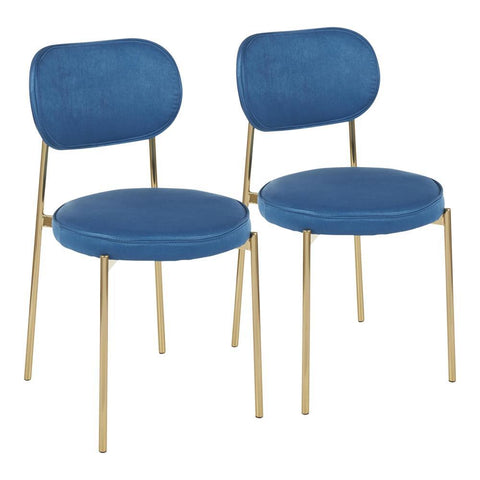 Lumisource Chloe Contemporary/Glam Dining Chair in Gold Metal and Blue Satin - Set of 2