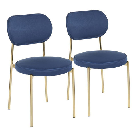 Lumisource Chloe Contemporary/Glam Dining Chair in Gold Metal and Dark Blue Satin - Set of 2