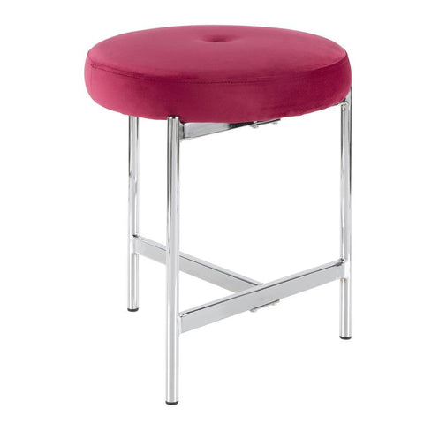 Lumisource Chloe Contemporary Vanity Stool in Chrome and Pink Velvet