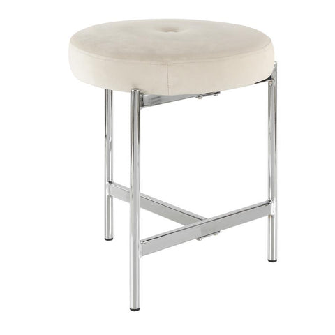 Lumisource Chloe Contemporary Vanity Stool in Chrome and White Velvet