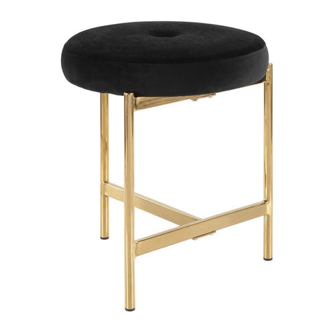 Lumisource Chloe Contemporary Vanity Stool in Gold Metal and Black Velvet