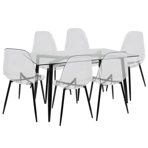 Lumisource Clara 7-Piece Mid-Century Modern Dining Set in Black and Clear