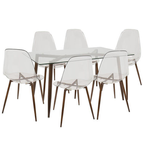 Lumisource Clara 7-Piece Mid-Century Modern Dining Set in Walnut and Clear
