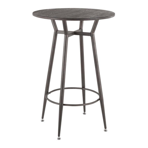 Lumisource Clara Industrial Round Bar Table in Antique Metal with Espresso Wood-Pressed Grain Bamboo