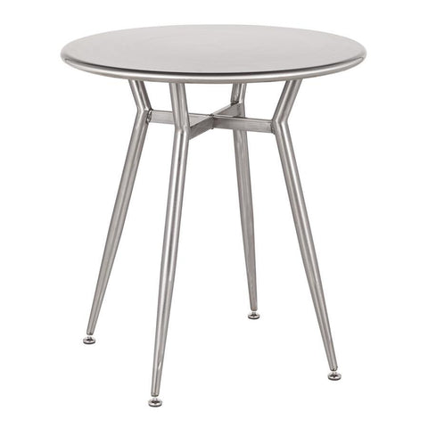 Lumisource Clara Industrial Round Dinette Table in Clear Brushed Silver Metal